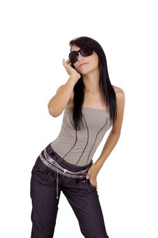 Latino Girl With Sunglasses Stock Photo