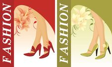 Free Stylish Female Shoes. Two Compositions For Card Royalty Free Stock Images - 15912409