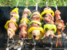 Grilled Barbecue Meat With Vegetables Royalty Free Stock Photos