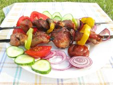 Free Grilled Meat With Vegetables On Plate Stock Photos - 15912783