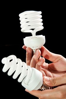 Energy Saving Light Bulbs In Hand Royalty Free Stock Photo