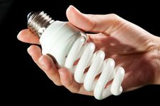 Energy Saving Light Bulb In Hand Royalty Free Stock Photography