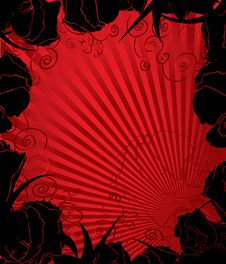 Free Black And Red Floral Background Royalty Free Stock Image - 15913556