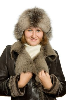 Adorable Woman In Winter Clothes Stock Images