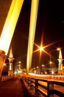 Rama 8 Bridge At Night Stock Image
