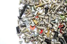 Free Screws And Bolts On White Royalty Free Stock Photo - 15915795