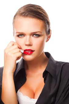 Free Woman With Red Lipstick Stock Images - 15916114