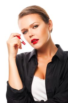 Free Sexy Woman With Lipstick Royalty Free Stock Photography - 15916187