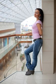 Free Beautiful Brunette On A Balcony Stock Photo - 15917170