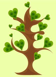 Free Fantasy Tree With Green Hearts Royalty Free Stock Photo - 15917265