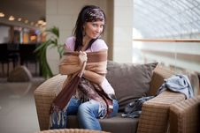 Free Pretty Brunette Is Playing With A Scarf Stock Photography - 15917302