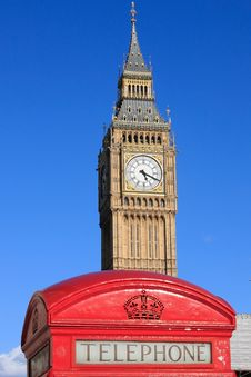 Free Famous Big Ben Clock Tower With Phone Booth In Lon Royalty Free Stock Image - 15917326