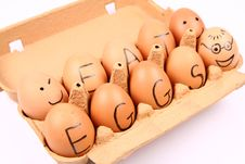 Free Eggs With An Inscription EAT EGGS Stock Photos - 15917363