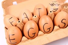 Free Eggs With An Inscription EAT EGGS Royalty Free Stock Image - 15917396