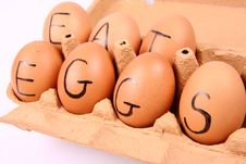 Free Eggs With An Inscription EAT EGGS Royalty Free Stock Image - 15917446