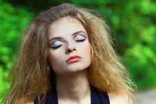 The Beautiful Girl With An Unusual Make-up Stock Image