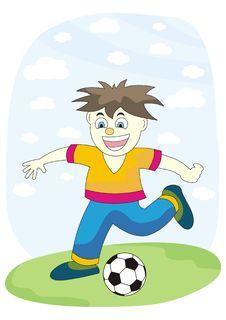Boy Play Football Stock Image