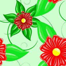 Seamless Wallpaper Pattern With Flower Stock Photo