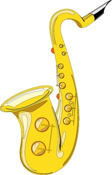 Free Gold Saxophone Isolated On White Background Royalty Free Stock Photos - 15919698