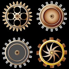 Free Gears On Black Background Stock Image - 15919711