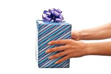 Blue Gift Box Stock Photo