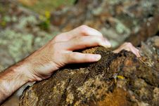 Free Climber´s Hand On Sandstone Rock Royalty Free Stock Photos - 15921278