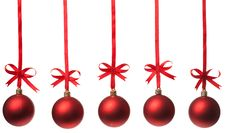Free Christmas Balls  With Ribbons And Bow Stock Image - 15921641