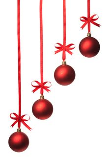 Free Christmas Balls  With Ribbons And Bow Stock Image - 15921651