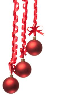 Free Christmas Balls  With Ribbons And Bow Royalty Free Stock Image - 15921656