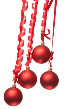Free Christmas Balls  With Ribbons And Bow Stock Images - 15921664