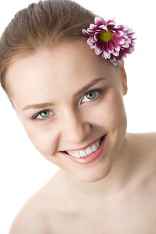 Free Beauty Woman Close-up Face With Flower Royalty Free Stock Photos - 15921688