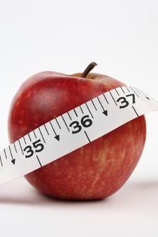 Closeup Of An Apple With 36 Measurement Royalty Free Stock Photos