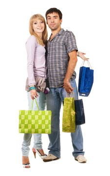 Free Young Couple With Shopping Bags Royalty Free Stock Photography - 15924227
