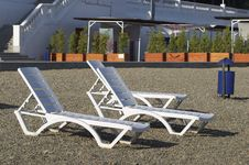 Plastic Deck-chairs Stock Photo