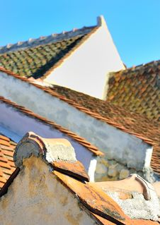 Ancient Roof Made With Tiles Stock Photo