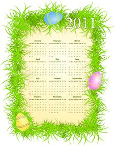 Vector Illustration Of Easter Calendar 2011 Stock Image