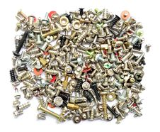 Screws And Bolts On White Background. Stock Photography