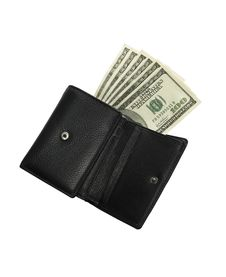 Wallet Sticking In Denominations Of 100 Dolar Stock Photos