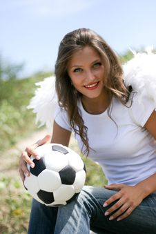 Free Pretty Angel With Soccer Ball Stock Photography - 15927022