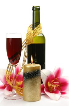 Wine And Candles Royalty Free Stock Image