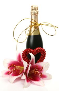 Free Wine And Flowers Royalty Free Stock Image - 15927406