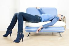 Free Woman Lying On Sofa Stock Photo - 15928100