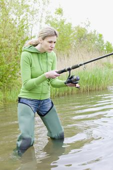 Free Fishing Woman Royalty Free Stock Photos - 15928108