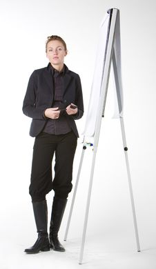 Businesswoman At Whiteboard Stock Images