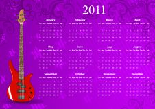 Free Vector American Calendar 2011 With Bass Guitar Stock Images - 15928434