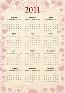 American Vector Pink Calendar 2011 With Hearts Royalty Free Stock Photography