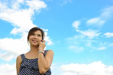 Asia Woman Is Talking A Telephone Stock Image