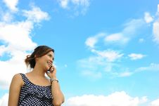Asia Woman Is Talking A Telephone Stock Photo