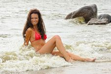 Free Woman In Bikini At Sea Royalty Free Stock Photography - 15929247