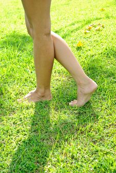 Free Woman Leg Stands On The Lawn Royalty Free Stock Images - 15929299